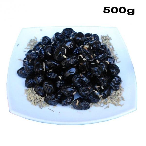 Olive Nere al Forno - schwarze Oliven gebacken 500g