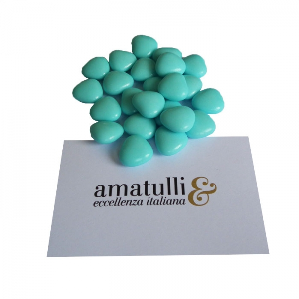 Herzförmiges Hochzeitskonfekt mit Schokoladenfüllung klein 1 KG blau