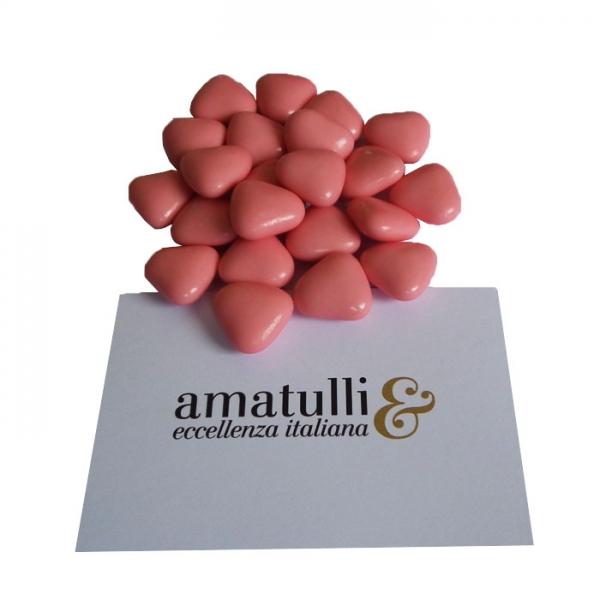 Herzförmiges Hochzeitskonfekt mit Schokoladenfüllung klein 1 KG rosa