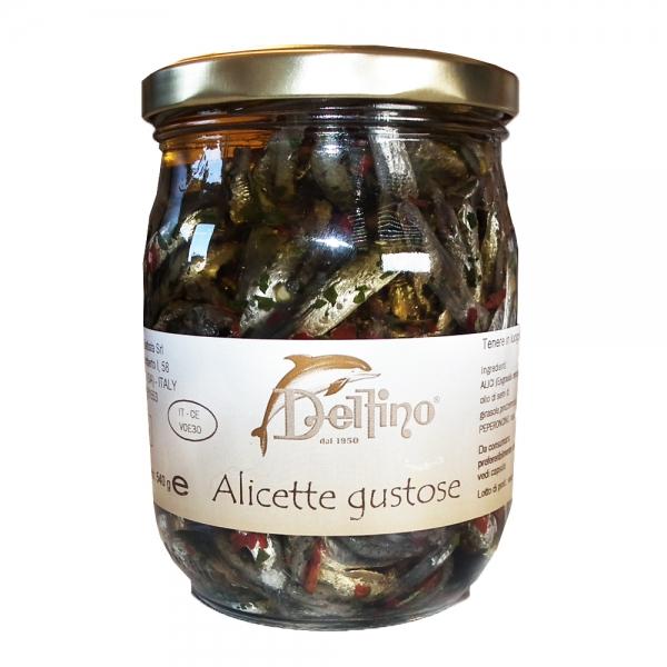 Sardellenfilets ohne Kopf Alici gustose - Delfino 580ml